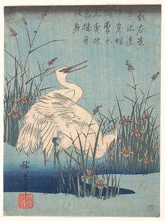 Utagawa Hiroshige (Japanese, 1797–1858). Egret in Iris and Grasses, ca. 1837. Edo period (1615–1868). Japan. The Metropolitan Museum of Art, New York. Purchase, Joseph Pulitzer Bequest, 1918 (JP248) #iris #flower