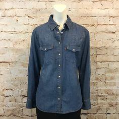 LEVIS Womens Small Blue Jean Shirt Retro Denim Pearl Snaps Western Long Sleeve  | eBay