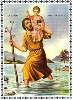 This is Saint Christopher. He is the Patron of safe travel.