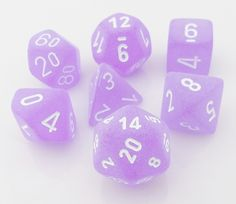 Frosted Dice (Purple) RPG Role Playing Game Dice Set. These look so cool. They look like they have a mate finish on them.