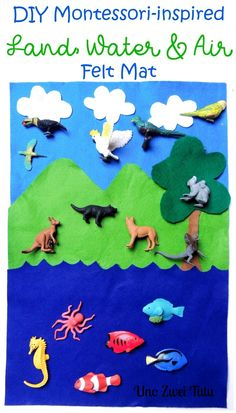 A simple tutorial to make a Montessori-inspired Land, Water and Air Felt Mat in less than 5 minutes. This is a fun sorting activity to introduce toddlers and preschoolers to geography.