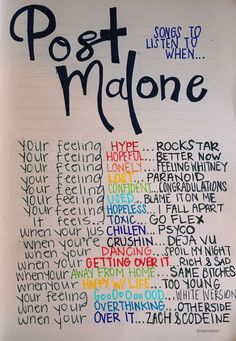Post Malone songs to listen to Music Mood, Mood Songs, New Music, Latest Music, Music Lyrics, Music Quotes, Music Songs, Piano Music, Song Suggestions
