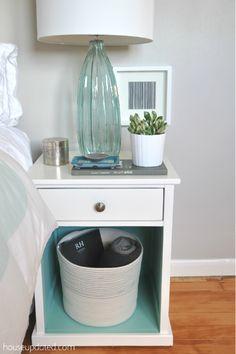 white + aqua + turquoise + gray + nightstand + glass lamp