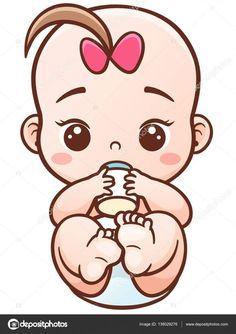 Descargue el vector de stock Bebé de vector ilustración de dibujos animados  sosteniendo una botella de cc791ab12bb4