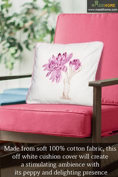 A fun-filled floral decor!  #MaddHome #HomeDecor #CushionCover Shop Now:- https://www.maddhome.com/all-cushion-covers-online/pink-off-white-floral-embroidered-cotton-cushion-cover.html