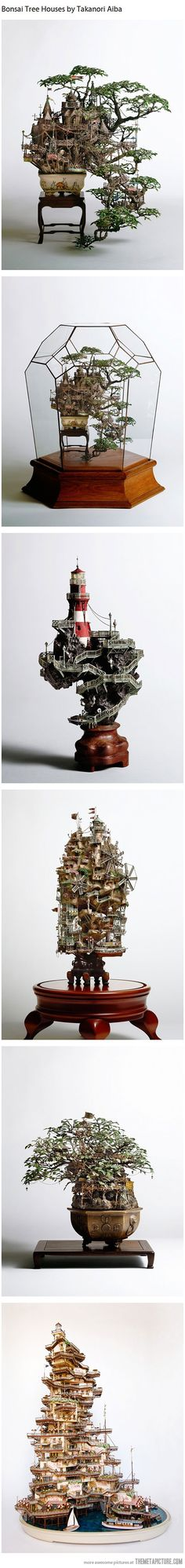 Bonsai Tree Houses. Wha'?! Are these for real?   Either way they are so cool!