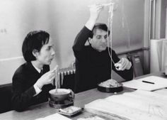 Toru Takemitsu with Iannis Xenakis.