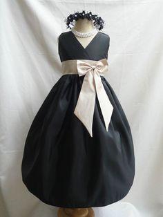 Flower Girl Dress BLACK w/ Champagne VN for Baby Teen by LuuniKids, $34.00