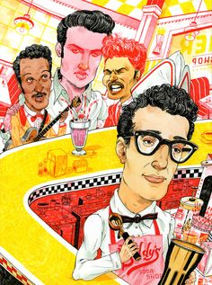 Seven Impossible Things Before Breakfast 1950s Rock And Roll, Rock N Roll, John Hendrix, Buddy Holly, Chuck Berry, Autumn Theme, Book Illustration, Rolling Stones, Book Design