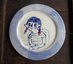 Doodling Girl Plate. $ 28.00, via Etsy- tuesdaybassen.