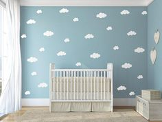 This listing is for white cloud wall decals in three different sizes. The clouds come in two sets: a large set of 30 decals and a small set of 15 decals in three different sizes. The approximate dimensions and number of clouds in each size are as follows: Small Set: > 3 - 10W x 5.3H > 4 - 9W