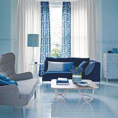Blue and white living room   Living room decorating   Homes & Gardens   Housetohome.co.uk