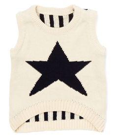Tan & Blue Star Sweater Vest - Infant Toddler & Boys