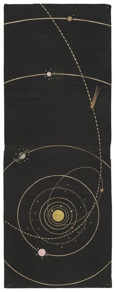 'Orbits' - Wall hanging of an astronomical theme, circa 1850. Printed lithographically on cotton, probably to avoid paper duty.