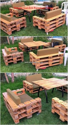 A beautiful and artistic simple garden furniture design has been crafted here with the pleasant working of the mode effects. This whole crafting of th., Wonderful Creations Made with Recycled Pallets Garden Furniture Design, Pallet Furniture Designs, Pallet Garden Furniture, Pallets Garden, Furniture Decor, Barbie Furniture, Furniture Vintage, Palette Furniture, Furniture Projects