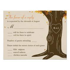 Oak Tree Fall Wedding RSVP Card w/ Menu Selection Custom Invitations $2.35