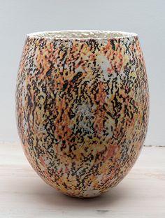 Vase form with multilayer slip. By Gene Scotten.