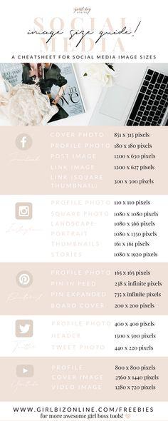 Social Media Image Size Guide #socialmediatips #mobilemarketingbusiness #socialmediameasurement
