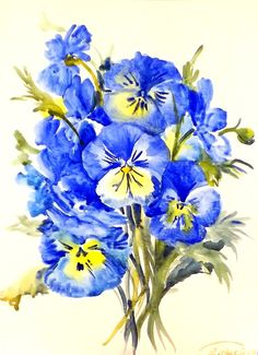 Blue Pansies original watercolor painting 12 X 9 by ORIGINALONLY, $28.00