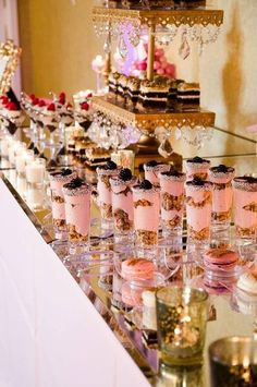 Helloooooo dessert bar! How cute are those cake parfaits in shot glasses? {Dacceni Occasions}