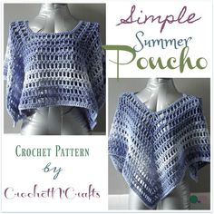 Free crochet pattern for the Simple Summer Poncho using Red Heart Super Saver Ombre. The poncho is given in one size, but can be adjusted as needed.