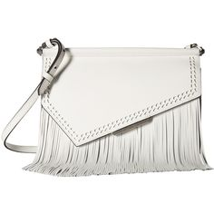 KENDALL + KYLIE Ginza Fringe (White) Handbags (2.187.350 IDR) ❤ liked on Polyvore featuring bags, handbags, shoulder bags, white, hand bags, leather shoulder handbags, leather shoulder bag, leather fringe purse and leather man bags