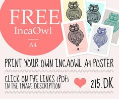 amazing illustrated owl by Tarik Arnautovic - free download in a choice of colors
