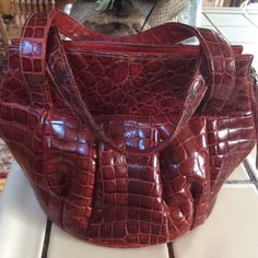 most amazing 1940's red crocodile handbag in perfect condition