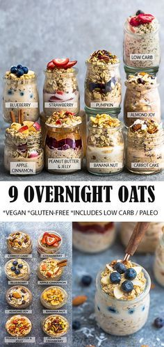 9 Best Easy Overnight Oats with tips on how to cook the perfect simple oatmeal for busy mornings. Healthy, delicious, gluten free & easy to customize using pantry ingredients with your favorite flavor Oats Recipes, Snack Recipes, Cooking Recipes, Dinner Recipes, Healthy Breakfast Recipes, Healthy Snacks, Healthy Oatmeal Recipes, Blueberry Oatmeal Recipes Breakfast, Healthy Breakfasts