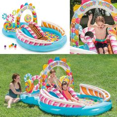 Inflatable Play Center with Water Sprayer, x x Inflatable kids' pool includes drain plug and repair patch. Kids Water Slide, Water Play, Water Slides, Pool Slides, Children Swimming Pool, Pool Lounge, Splash Pad, Kiddie Pool, Play Centre