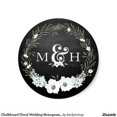 Shop Chalkboard Floral Wedding Monograms Ampersand Classic Round Sticker created by beckynimoy. Chalkboard Wedding Invitations, Country Wedding Invitations, Monogram Stickers, Custom Stickers, Monogram Wedding, Wedding Monograms, Chalkboard Background, Green Wreath, Floral Theme