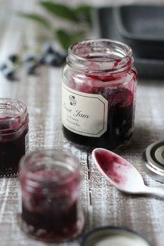 making blueberry jam