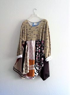 Rustic patchwork Tunic Dress. Ethical Fashion Boho by KheGreen