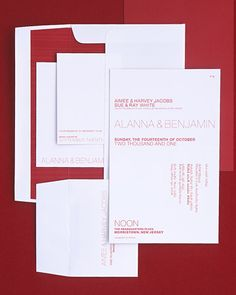 Sans Serif Suite    The invitations established a contemporary feeling for the wedding with red letters in a modern font on bright-white paper; Ben translated the English text into Hebrew.
