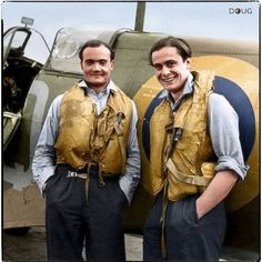 Flight Lieutenant Brian Kingcome (left), commanding officer of No. 92 Squadron Royal Air Force and his wingman, Flying Officer Geoffrey Wellum, next to Supermarine Spitfire (possibly Wellum's QJ-K) at RAF Biggin Hill, Kent, June/July 1941.  Group Captain Charles Brian Fabris Kingcome DSO, DFC & Bar (31 May 1917 – 1994) Squadron Leader Geoffrey Wellum DFC (born 4 August 1921 – still with us aged 94)