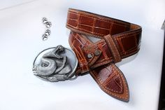 "4lapki ремень натуральная кожа крокодил пряжка ""Bergamot"" (США, 1987г) ручная работа / leather belt genuine crocodile buckle ""Bergamot"" (USA, 1987) handmade"