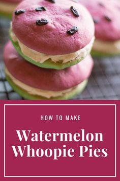 Stunning Watermelon Whoopie Pies - Tamara Like Camera Summer Treats, Summer Desserts, Summer Recipes, Great Recipes, Summer Food, Homemade Cookies, Homemade Desserts, Delicious Desserts, Dessert Recipes