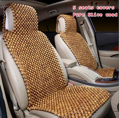 Luxury Car Seat Cushion Hand-woven Ice Silk with Wood Beads Car Seat ...
