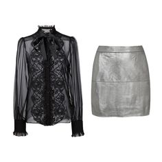 Pair a silver mini skirt with a black lace bib blouse