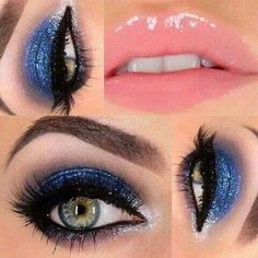 Blue and sliver eyeshadow