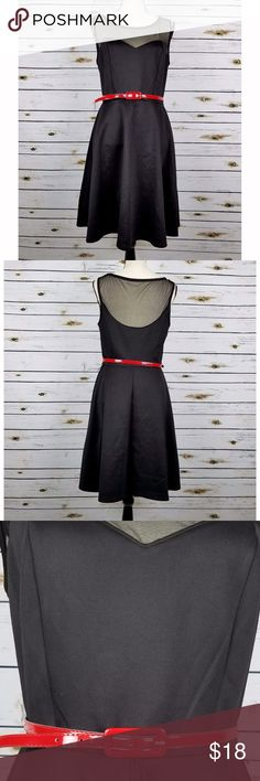 Black Retro Style Dress Sz 10 Red Belt Fit & Flare Connected Apparel dress size 10. Black, sleeveless fit and flair. Sheer net shoulders, red belt. 96% Polyester 4% Spandex. New with one small flaw, one of the belt loops has a loose end.   Measurements: Bust: 38 Waist: 30 Hips: 48 Length: 38 shoulder seam to bottom Connected Apparel Dresses