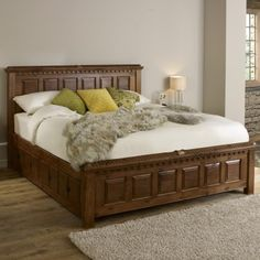 Warmth, coziness and authenticity in one: Solid wood beds Solid wood beds traditional handcrafted solid wood bed QKMALQZ Wood Bed Design, Bedroom Bed Design, Bedroom Furniture Design, Bed Furniture, Oak Bed Frame, Solid Wood Bed Frame, Solid Wood Platform Bed, Solid Oak Beds, Solid Wood Bunk Beds