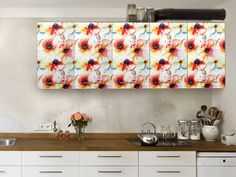 """Frühling in der Küche - Küche folieren mit der #Küchenfolie (selbstklebend) """"Water Color Flower Pattern"""" #frühlingsgefühle #hellospring"""