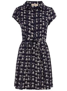 Petite navy owl print dress