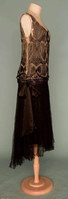 Beaded Dance Dress (image 2) | House of Worth | France; Paris |  1930 | lace, silk satin, jet bugle beads | Augusta Auctions | November 14, 2012/Lot 406
