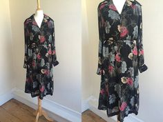 1970s Black Floral Midi Dress  * Size Large