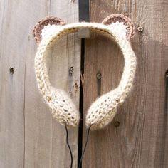 bear ear headphone cover, cute
