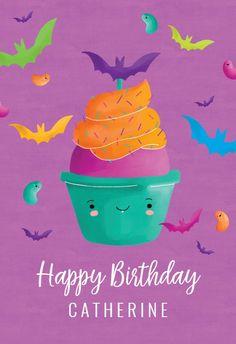 Bat Cupcake - Happy Birthday Card #greetingcards #printable #diy #birthday