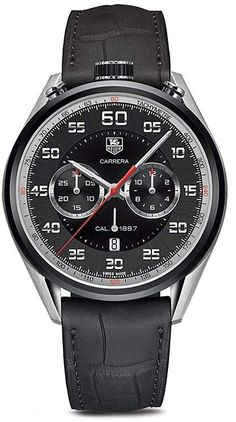 Tag Heuer Carrera Calibre 1887 Chronograph Stainless Steel and Black Leather Watch, 45mm