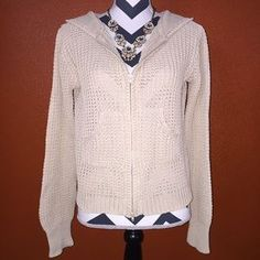 Daytrip Sweaters - Daytrip Beige Tan Knitted Zip Up Jacket Large